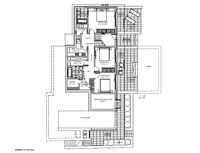 Floor Plan Basement 4 Bedrooom type Electra